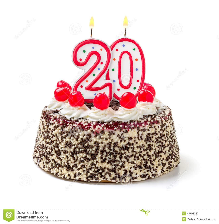 20 Birthday Cake  Cake With Burning Candle Number 20 Stock Image of