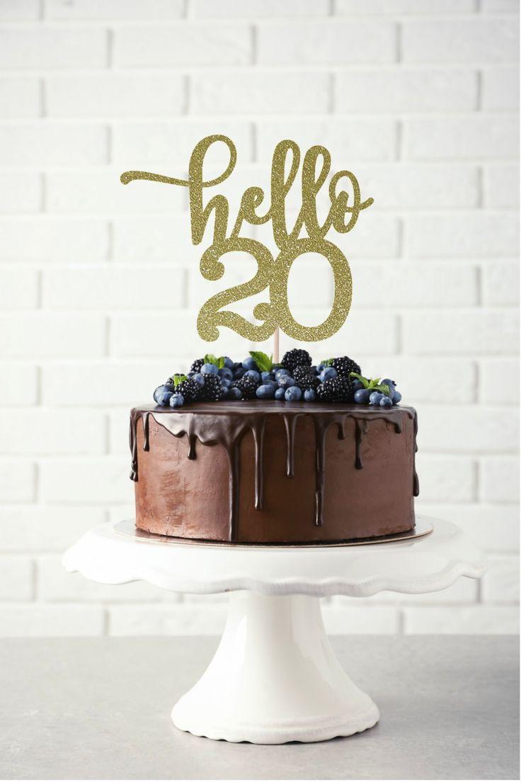 20 Birthday Cake  Hello 20 Glitter Cake Topper Any Age Cake Topper 20th