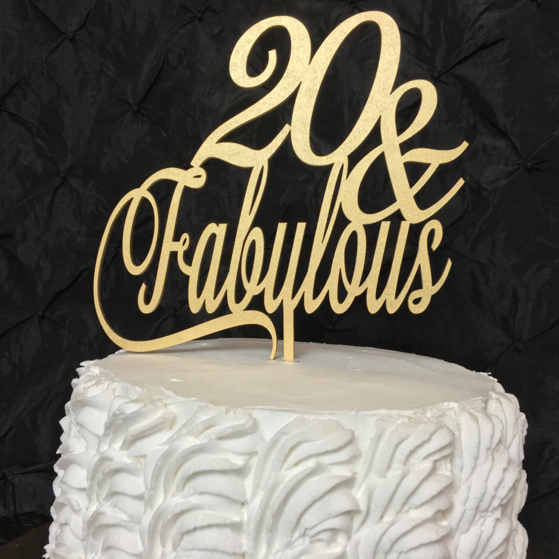 20 Birthday Cake  20th Birthday Cake Topper 20 & Fabulous Cake Topper Glitter