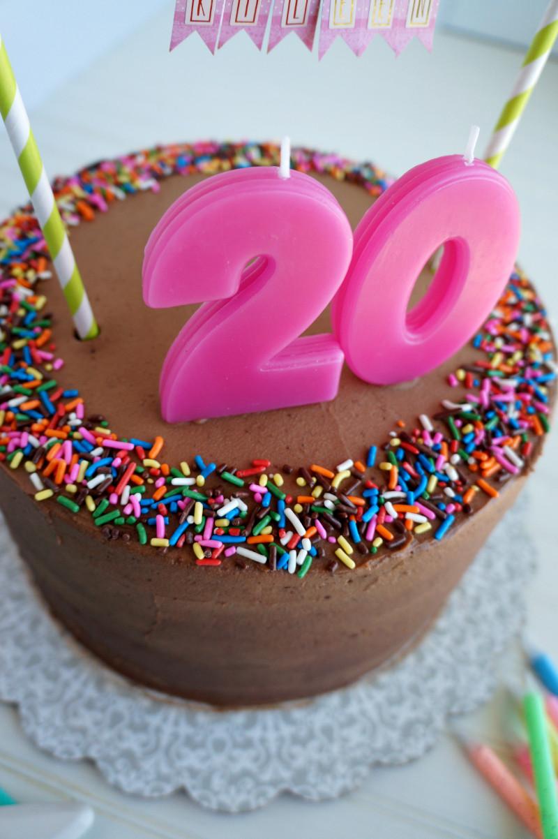 20 Birthday Cake  20th birthday chocolate confetti cake