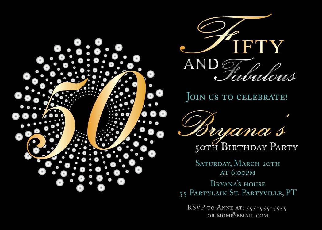50th Birthday Invitation Wording  Fifty and fabulous birthday invitations by sassyphotocreations