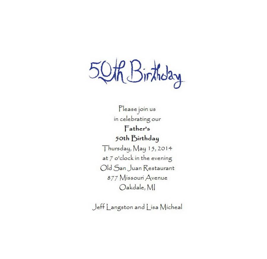 50th Birthday Invitation Wording  Adult s 50th Birthday Invitation 5 Free Wording