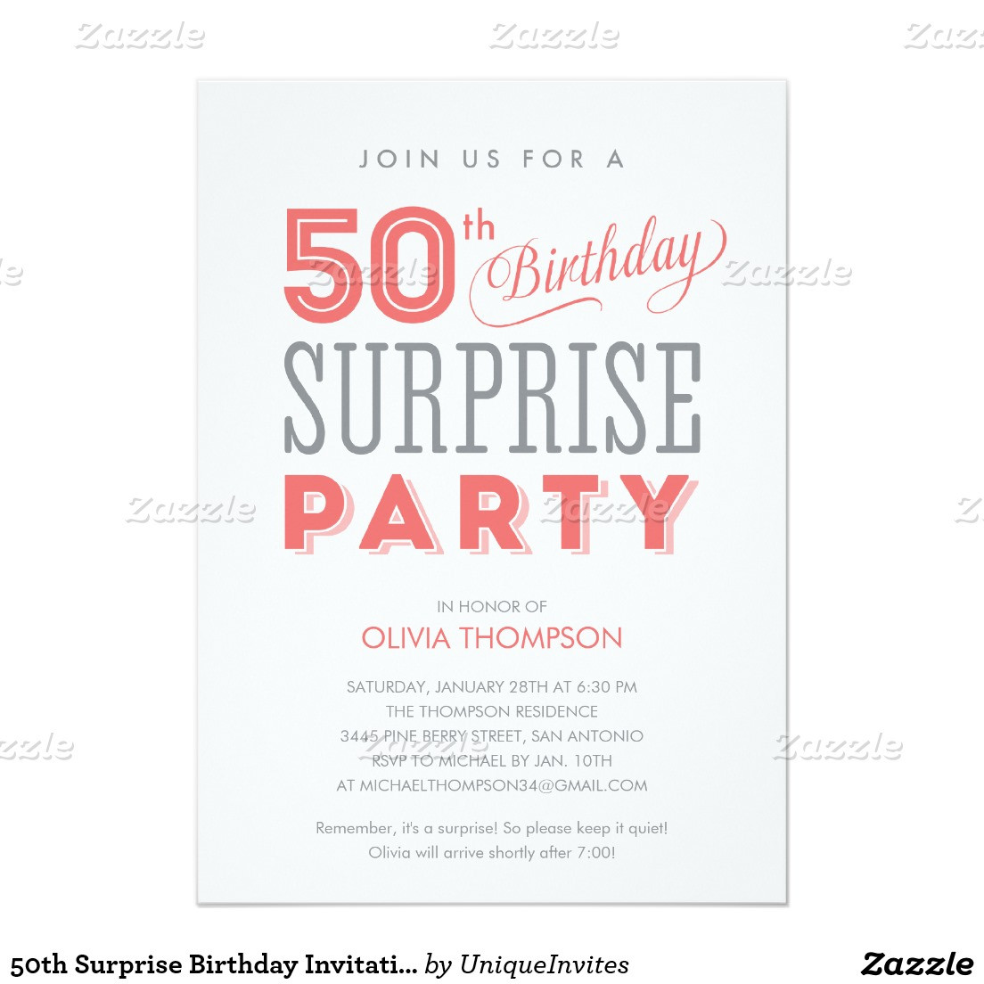 50th Birthday Invitation Wording  Surprise 50th Birthday Party Invitation Wording