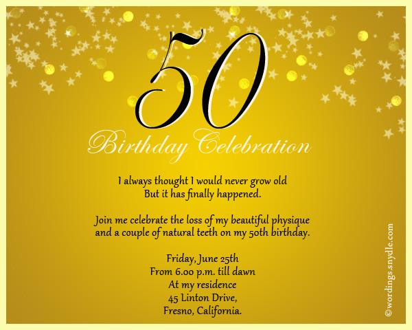 50th Birthday Invitation Wording  50th Birthday Invitation Wording Samples – Wordings and