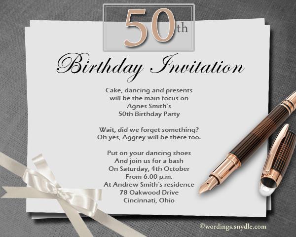 50th Birthday Invitation Wording  50th Birthday Invitation Wording Samples Wordings and