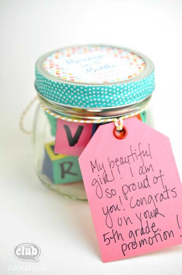 5Th Grade Girl Graduation Gift Ideas  Message in a Bottle Homemade Graduation Gift Idea