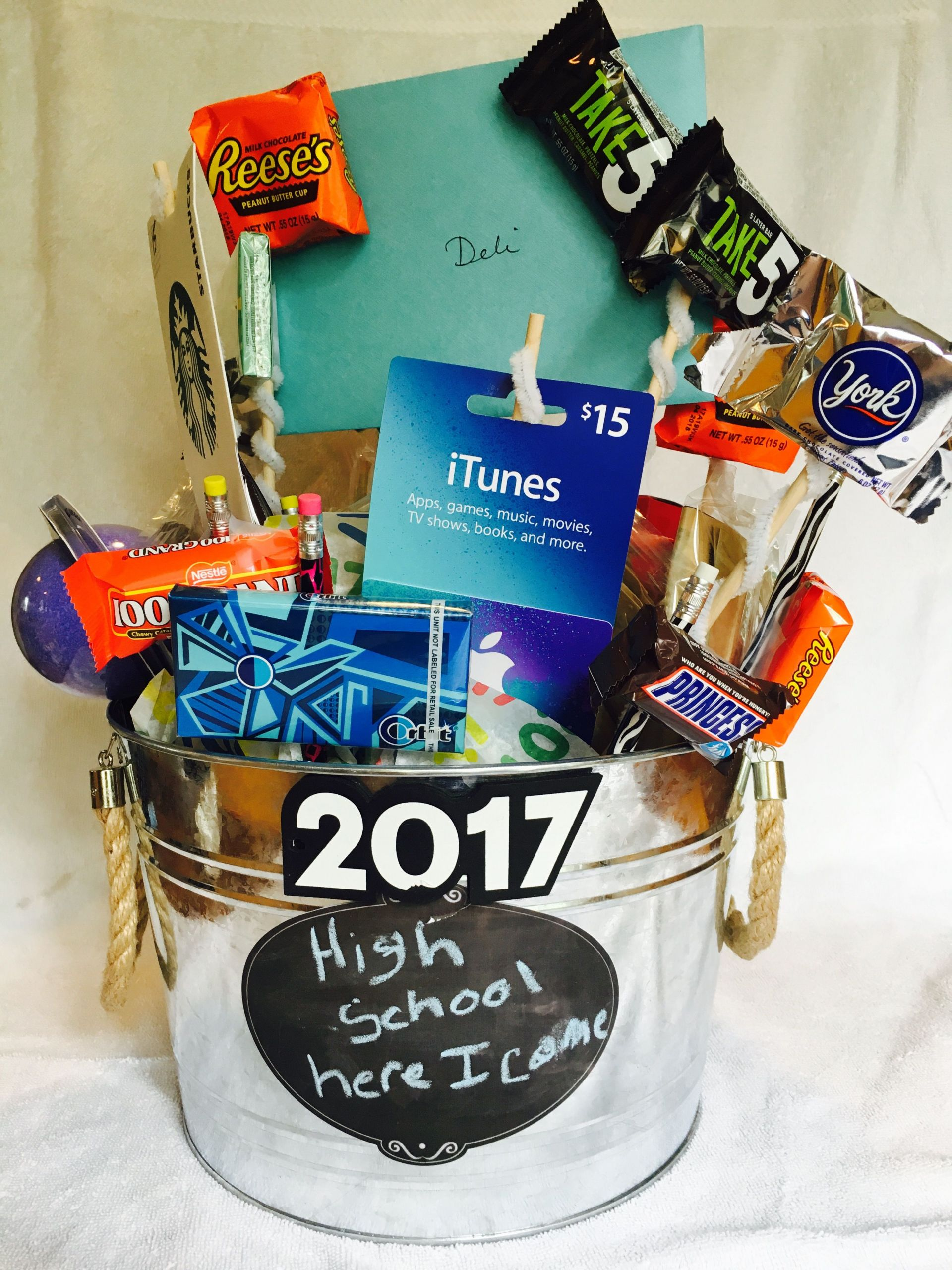 5Th Grade Graduation Gift Ideas For Boys  A bucket full of awesome treats for a middle school