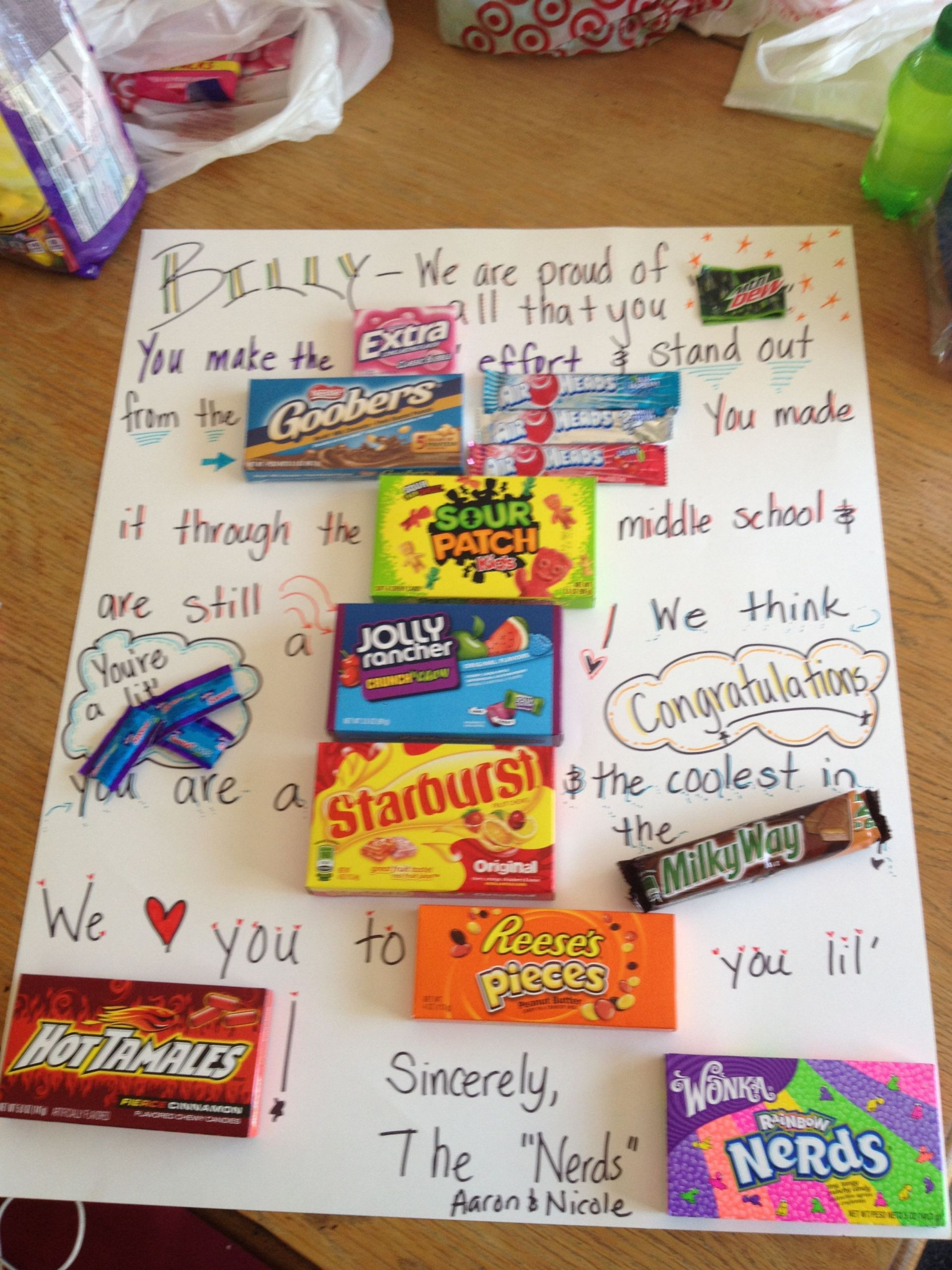 5Th Grade Graduation Gift Ideas For Boys  A candy card for a boy promoting graduating middle school