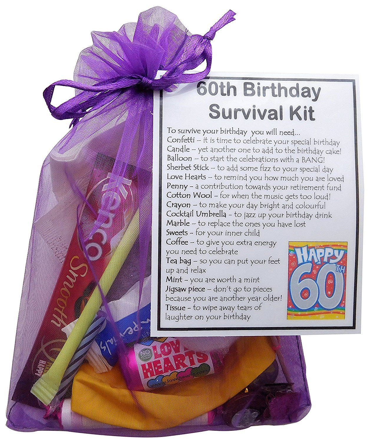 60Th Birthday Gift Ideas For.Women  60th Birthday Gift Unique Novelty survival kit 60th