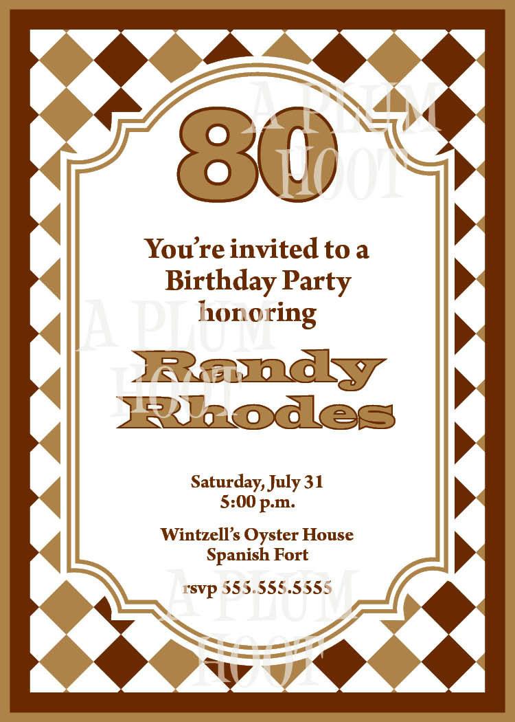 80th Birthday Invitation Wording  Traditional 80th Birthday Invitation DIY Printable 5x7