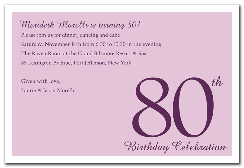 80th Birthday Invitation Wording  80th Birthday Invitations Templates Free