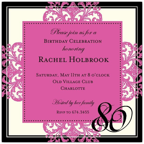 80th Birthday Invitation Wording  Decorative Square Border Pink 80th Birthday Invitations