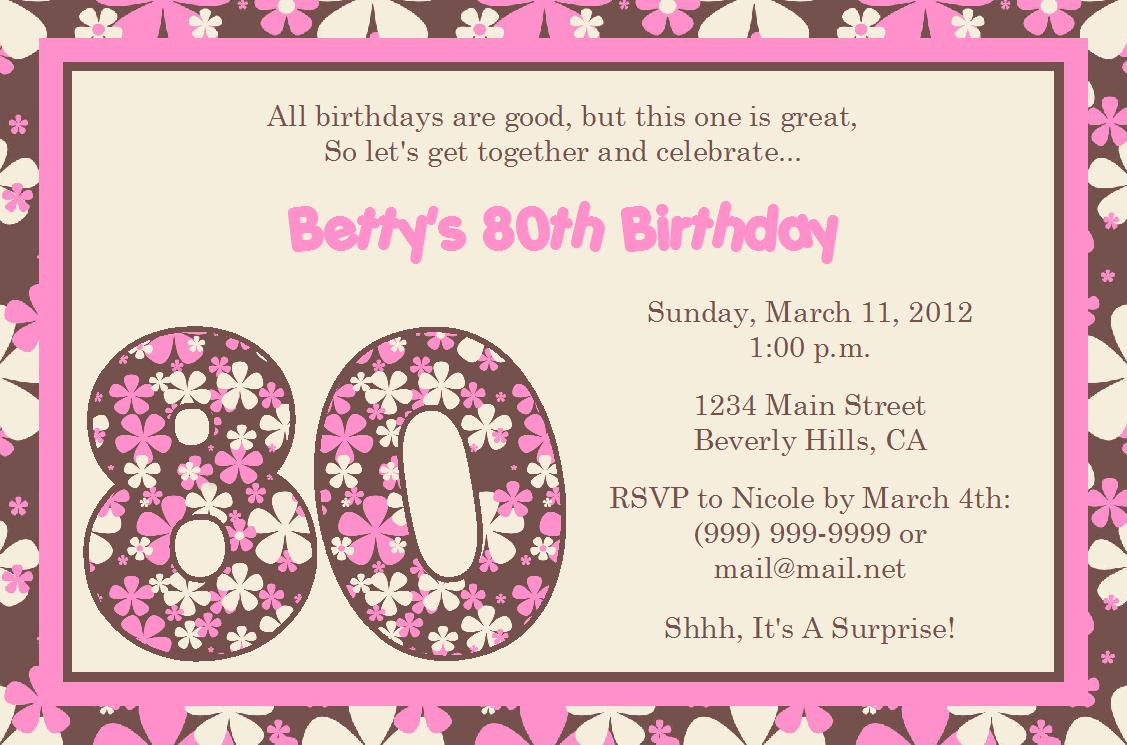 80th Birthday Invitation Wording  Free Birthday Invitations To Print