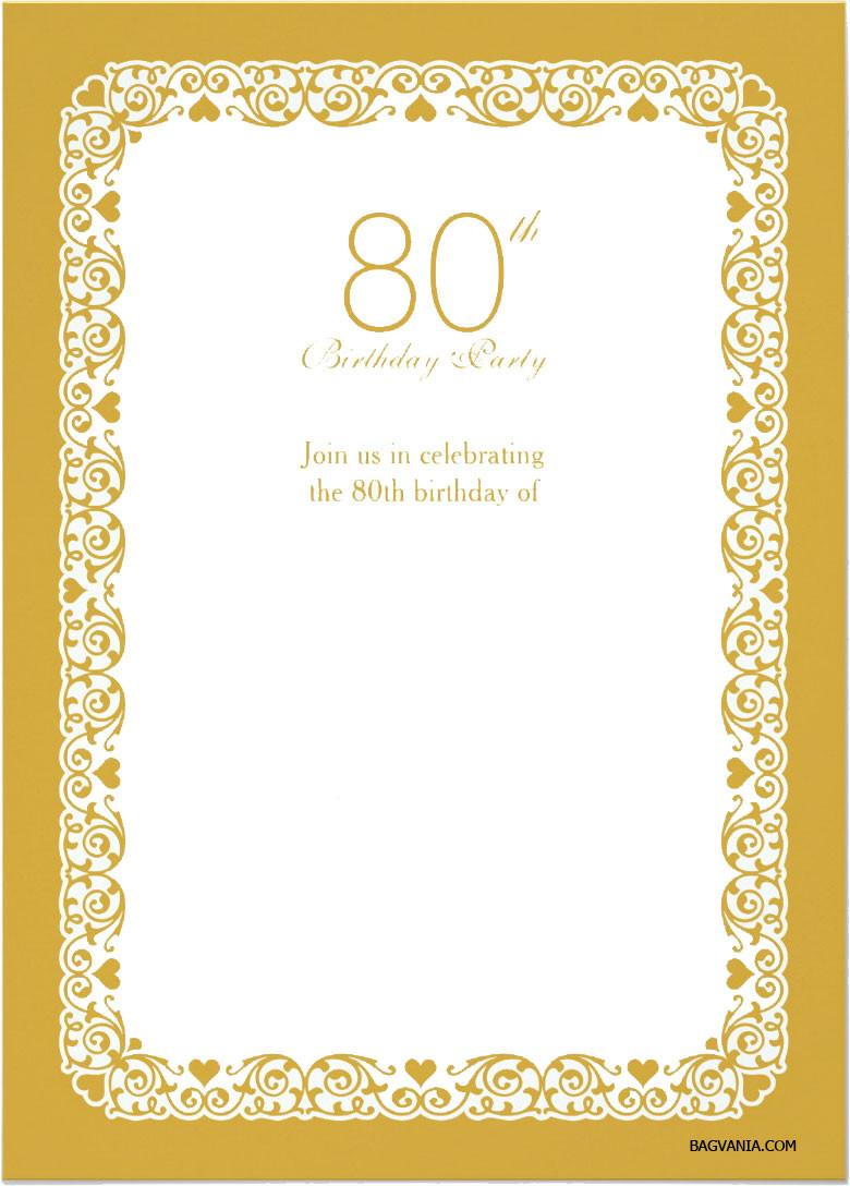 80th Birthday Invitation Wording  Free Printable 80th Birthday Invitations – FREE Printable