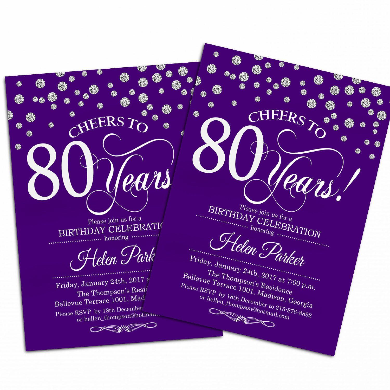 80th Birthday Invitation Wording  80th Birthday Invitation 90th Any Age Purple