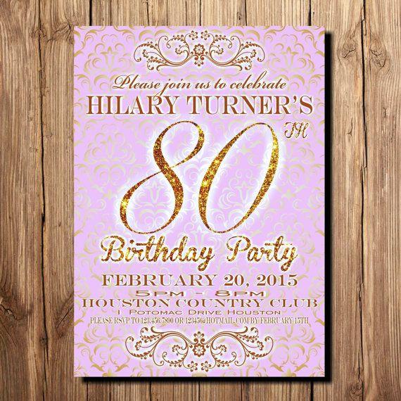 80th Birthday Invitation Wording  80th Birthday Party Invitation Wording