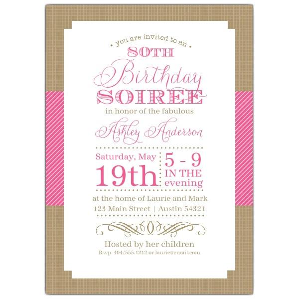 80th Birthday Invitation Wording  Nashville Pink 80th Birthday Invitations