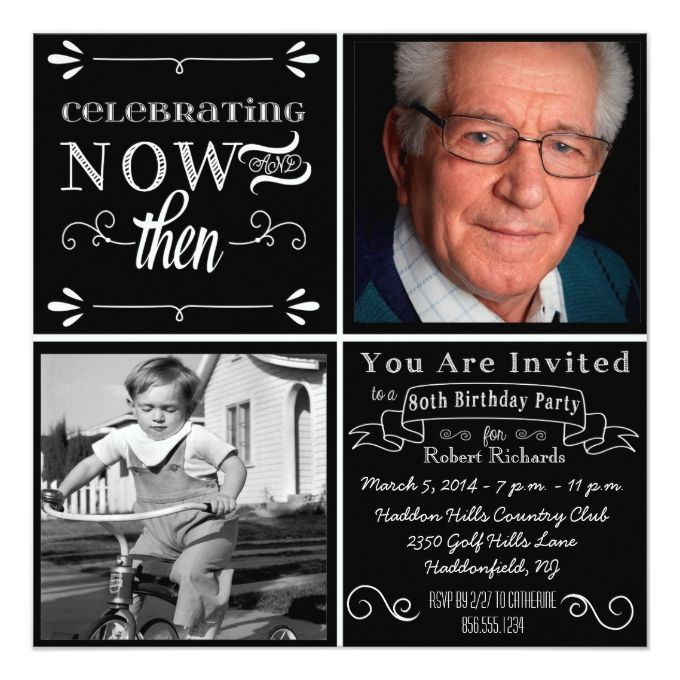 80th Birthday Invitation Wording  Chalkboard 80th Birthday Square Invitation