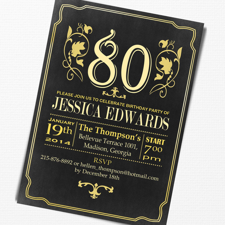 80th Birthday Invitation Wording  80th birthday invitations 80th birthday invitations for