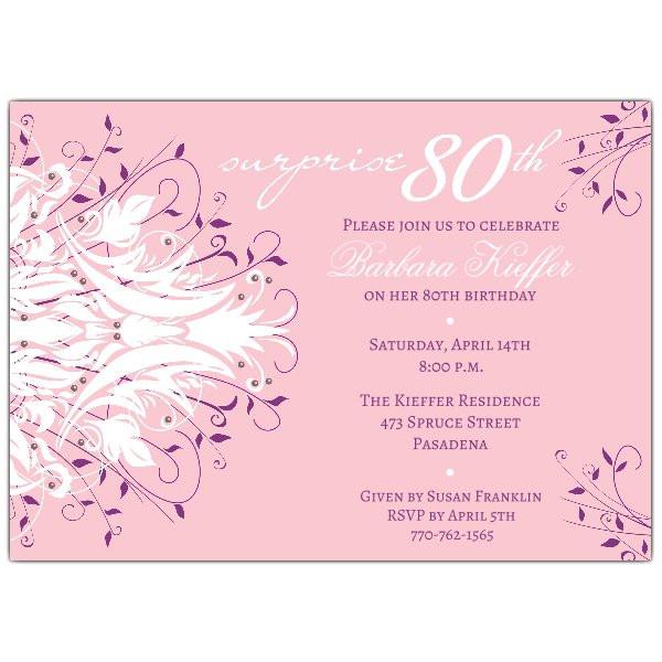 80th Birthday Invitation Wording  Andromeda Pink Surprise 80th Birthday Invitations