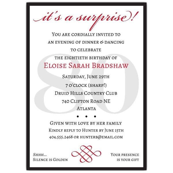 80th Birthday Invitation Wording  Classic 80th Birthday Red Surprise Invitations