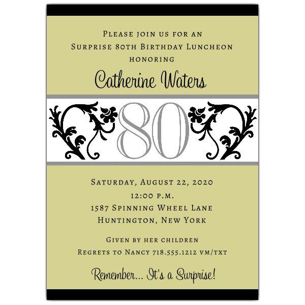 80th Birthday Invitation Wording  Elegant Vine Chartreuse 80th Birthday Invitations