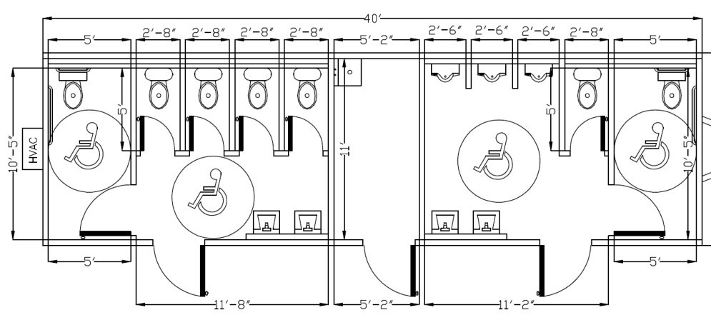 Ada Bathroom Layout With Shower  Ada Bathroom Requirements mercial Buildings