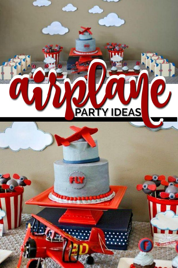 Airplane Birthday Party Ideas  Plane Themed Boy s First Birthday Party Spaceships and