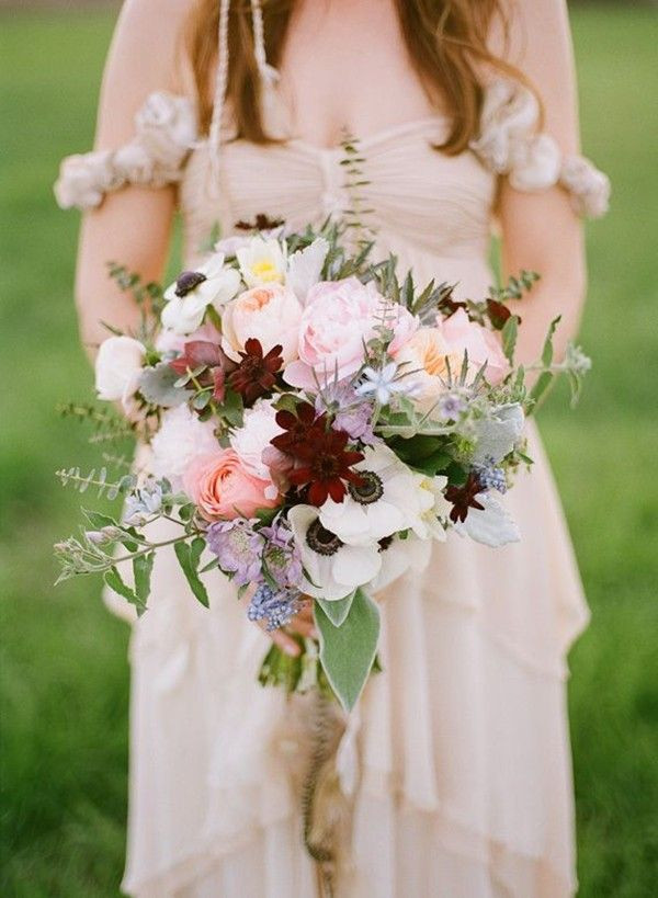 April Wedding Flowers  Peonies anemones and rose bridal bouquet for April