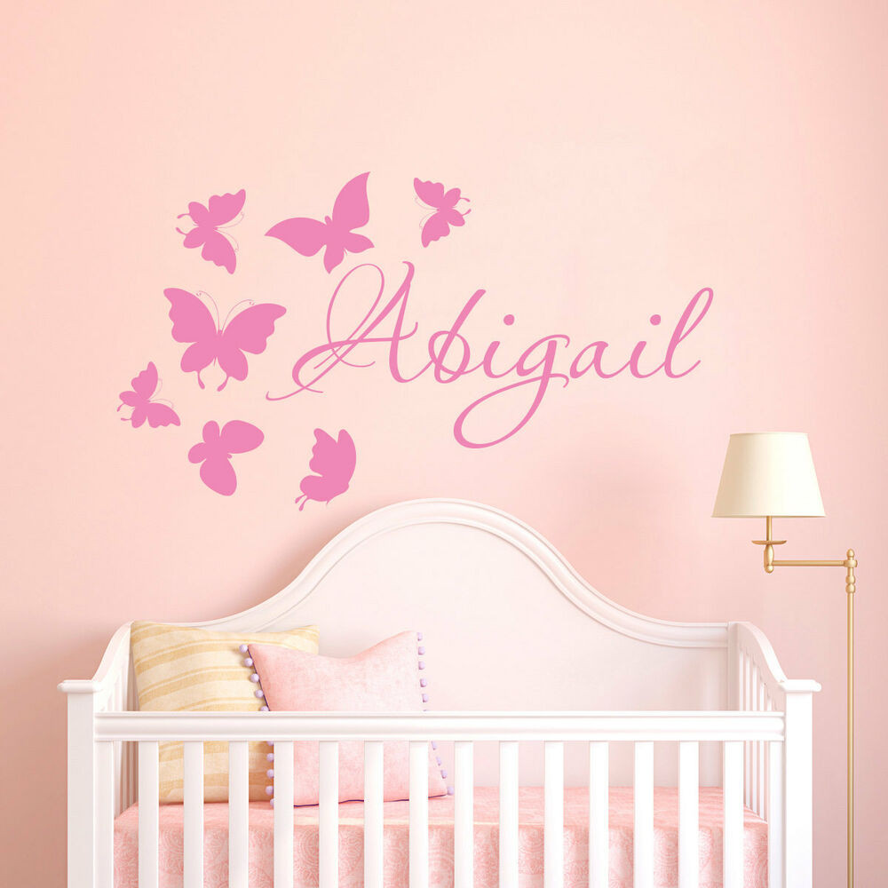 Baby Name Wall Decor  Wall Stickers custom colour baby name butterfly vinyl