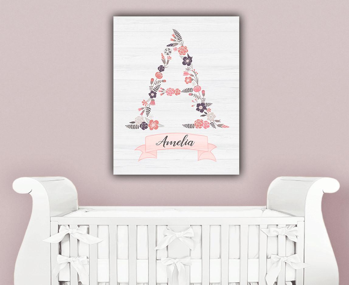 Baby Name Wall Decor  Baby Girl Nursery Wall Decor Baby Name Wall by