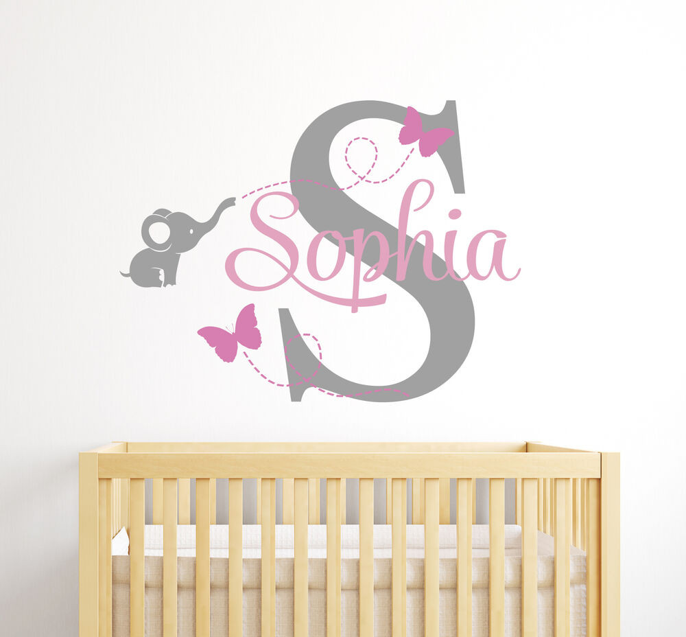 Baby Name Wall Decor  Custom Elephant Girl Name Wall Decal Baby Room Decor