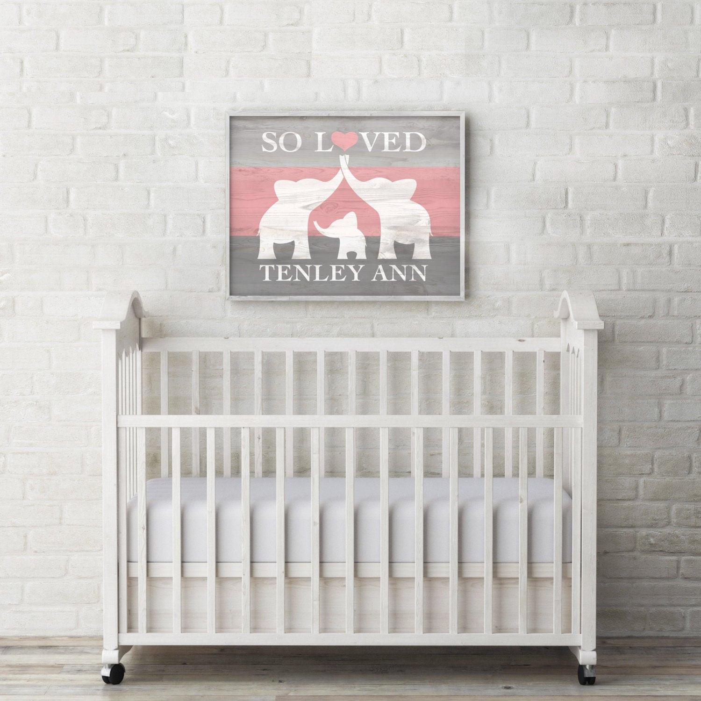 Baby Name Wall Decor  Elephant Nursery Decor Custom Baby Name Wall Art Elephant