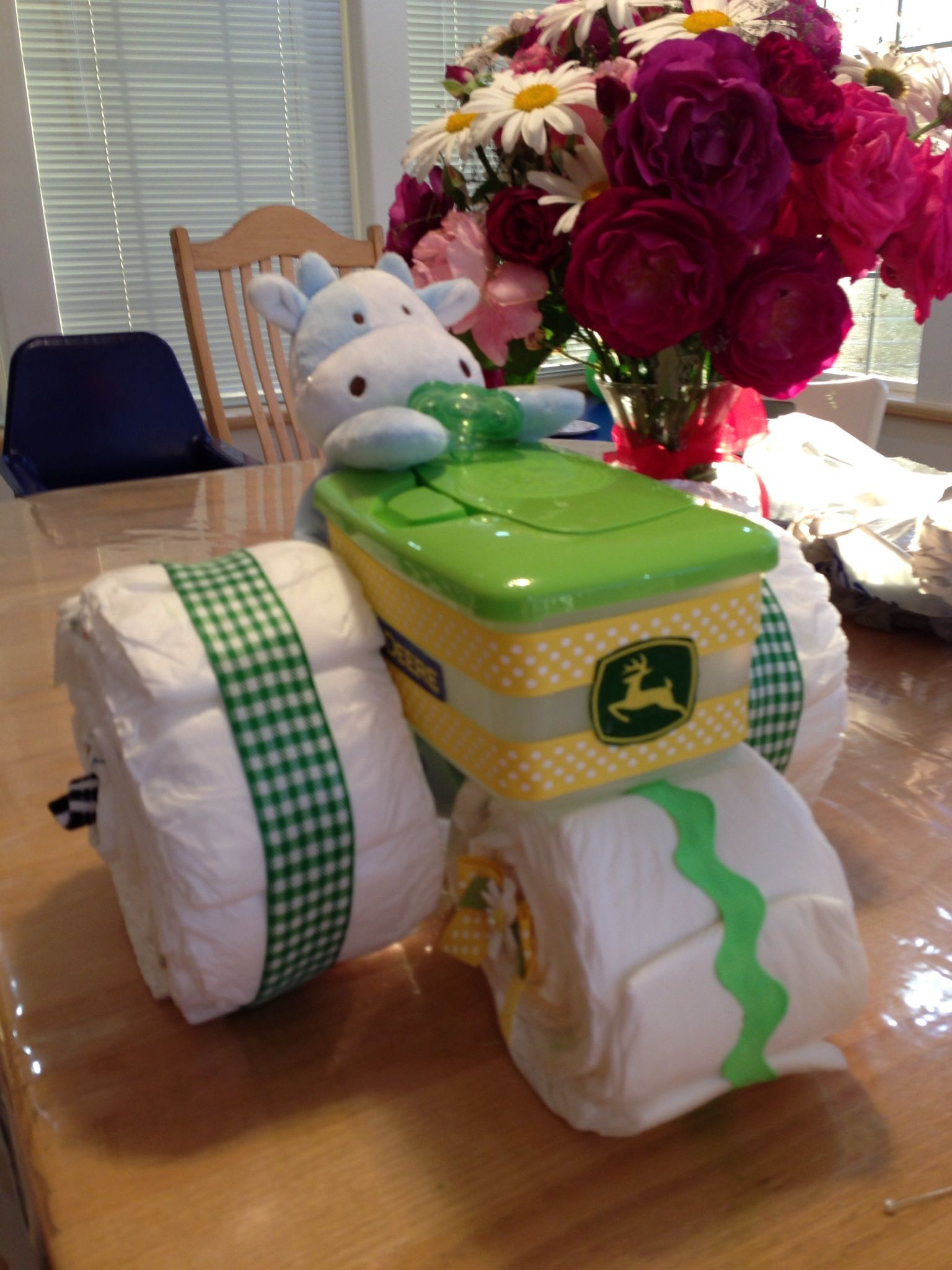Baby Shower Craft Gift Ideas  Diaper tractor for my daughter s new baby