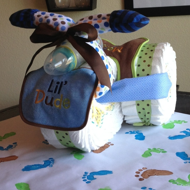 Baby Shower Craft Gift Ideas  Hand crafted t wrap and diaper trike for baby shower