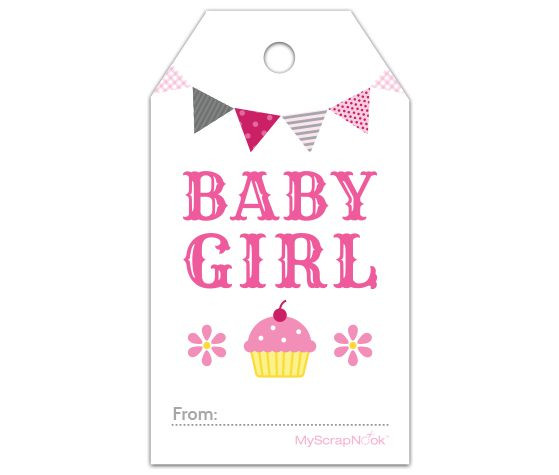 Baby Shower Gift Tag Template  Download this Pink Cupcake Baby Girl Gift Tag and other