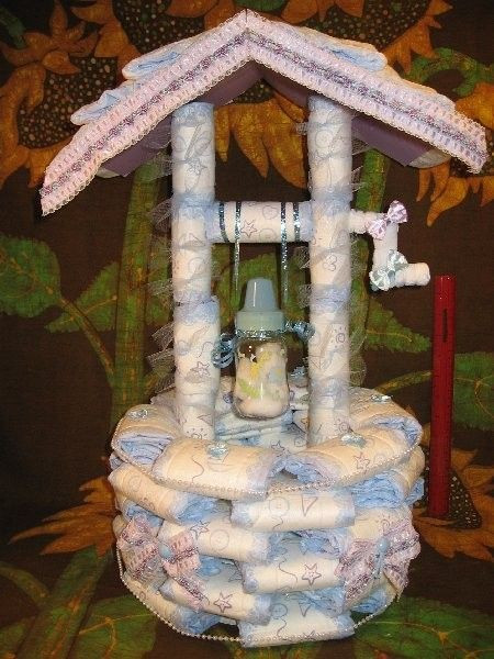 Baby Shower Wishing Well Gift Ideas  How 2 make a Diaper WISHING WELL instructions GR8 for