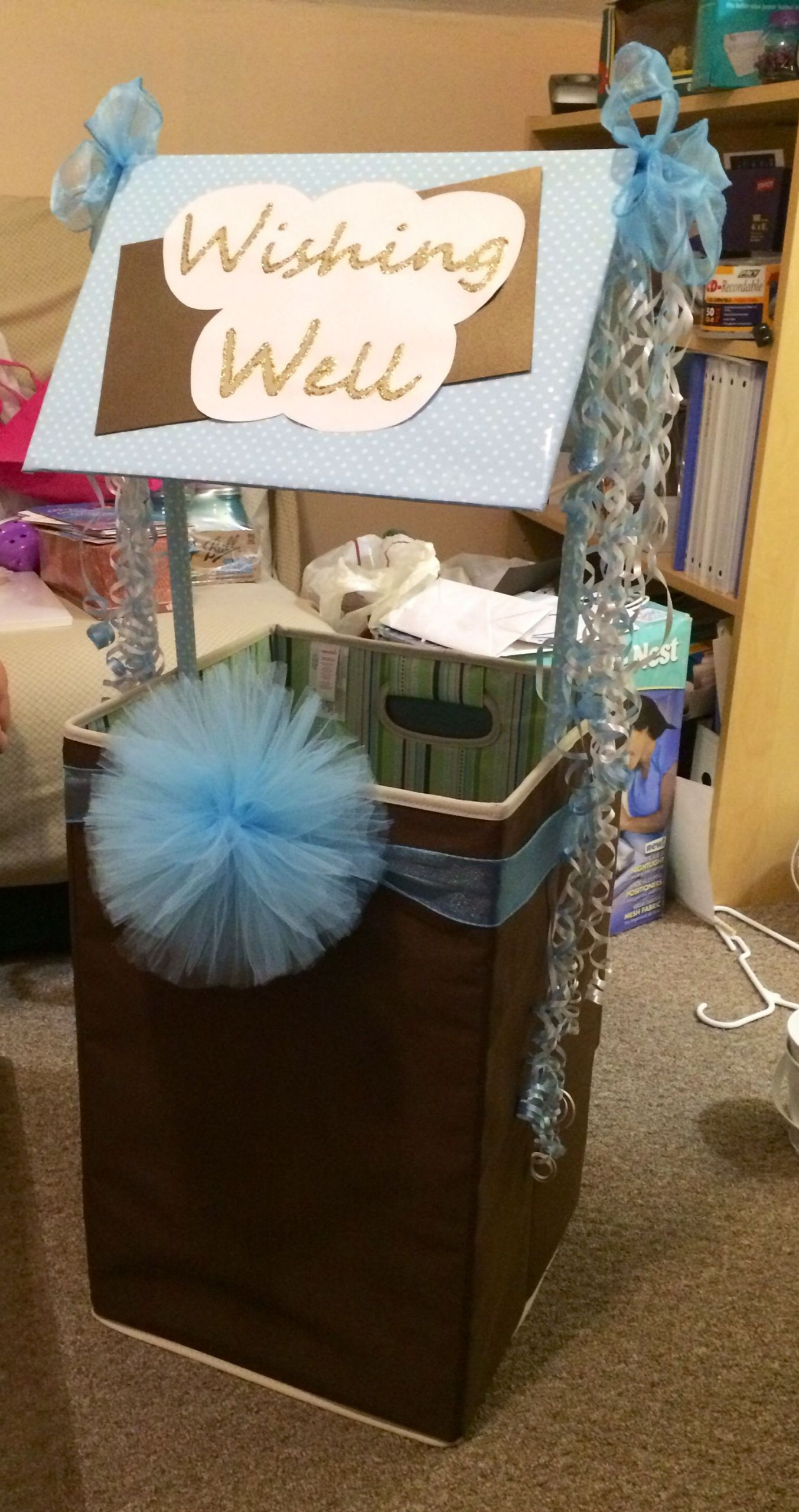 Baby Shower Wishing Well Gift Ideas  Baby shower wishing well made with hamper