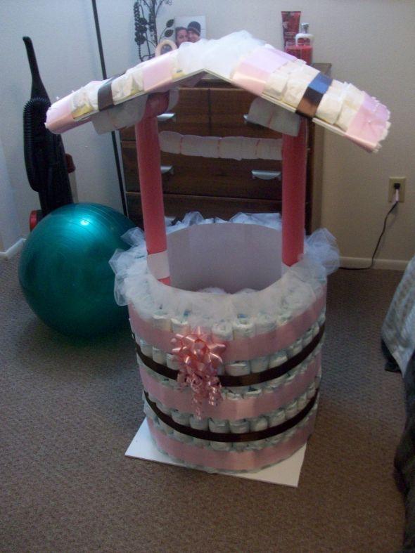 Baby Shower Wishing Well Gift Ideas  DIY Diaper Wishing Well other fun Shower stuff Pic