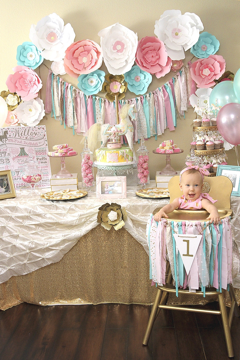 Baby'S First Birthday Gift Ideas  A Pink & Gold Carousel 1st Birthday Party Party Ideas