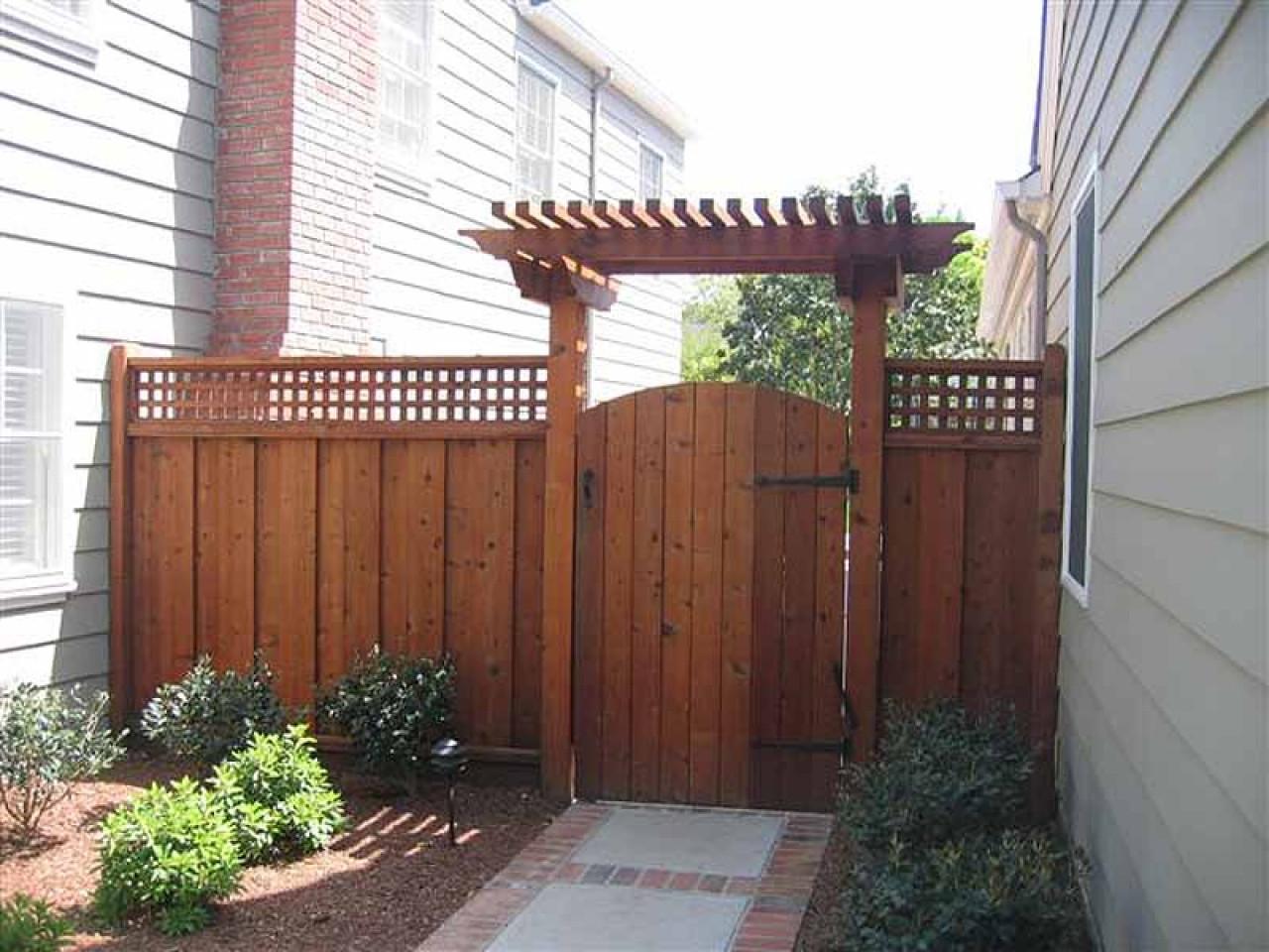 Backyard Fence Door  Pergola and lattice fence garden door gate with arch