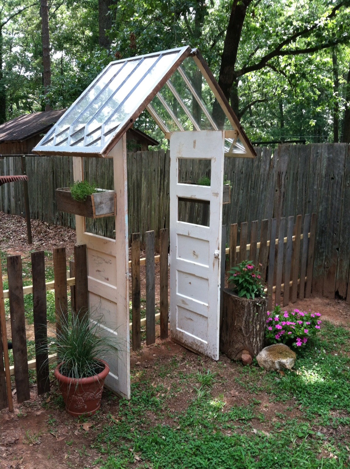 Backyard Fence Door  pallet garden fence