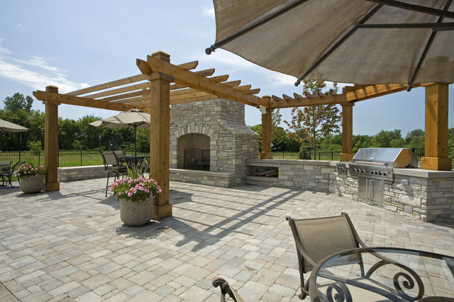 Backyard Grilling Areas  Outdoor BBQ Area Traditional Landscape Minneapolis