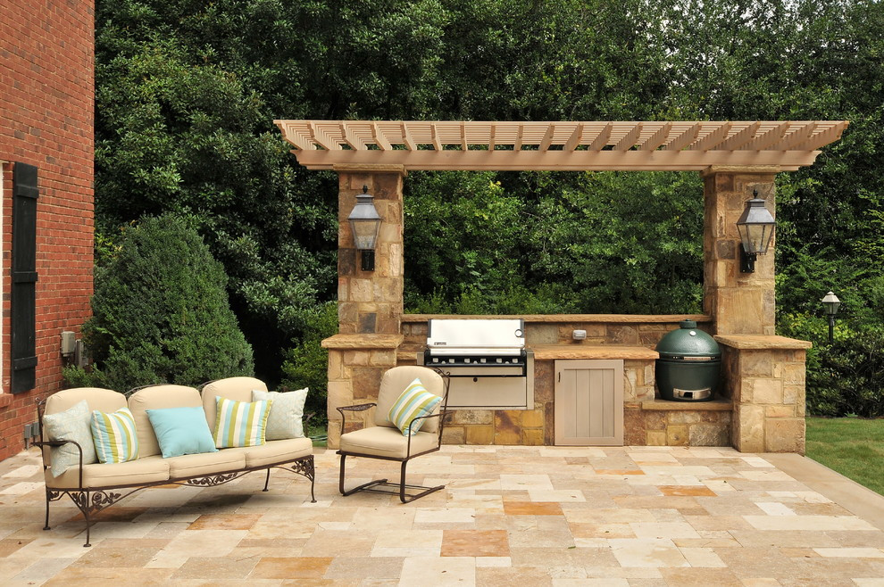 Backyard Grilling Areas  Gorgeous kamado joe in Patio Modern with Traeger Smoker