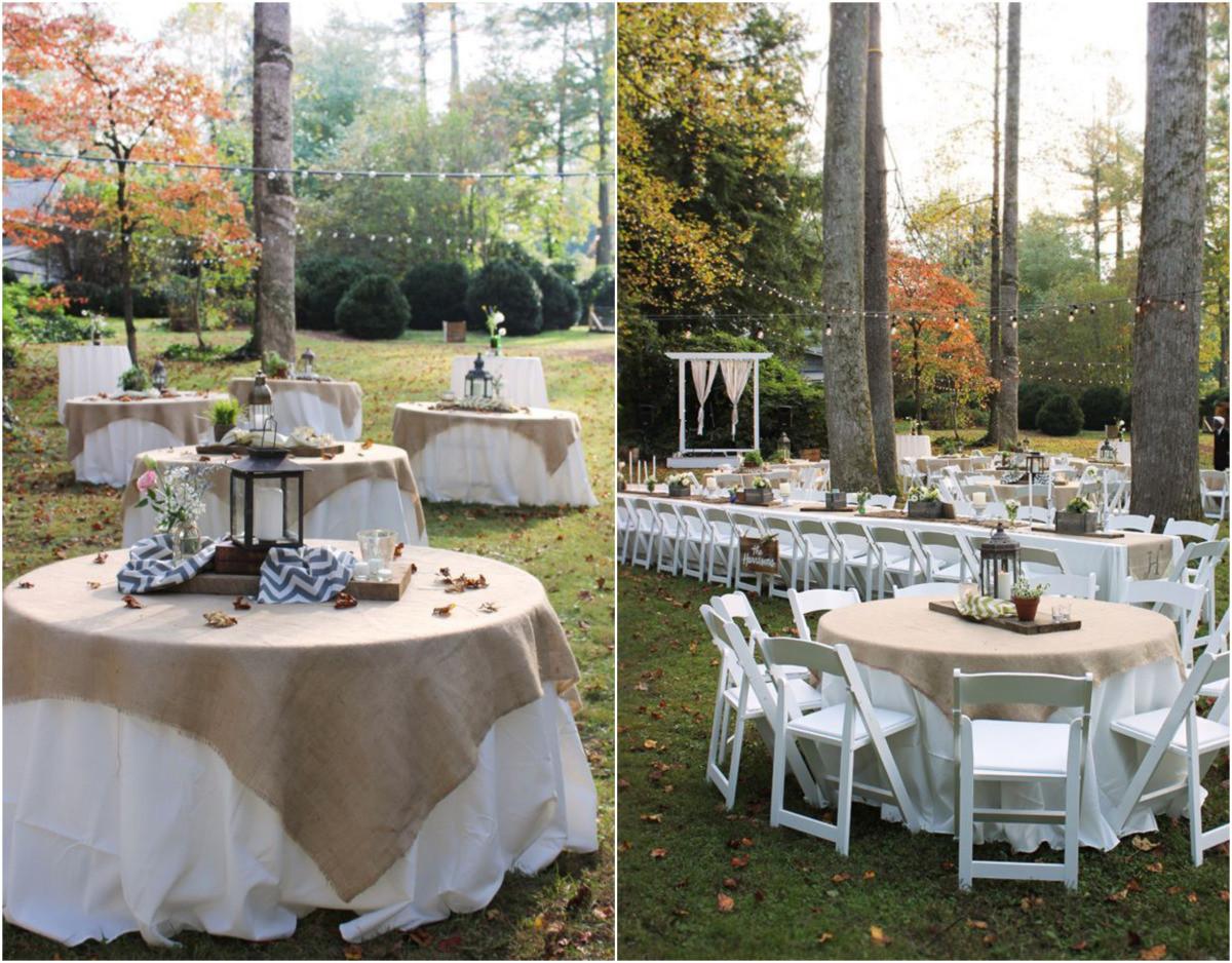 Backyard Wedding Receptions  Backyard rustic wedding reception idea via
