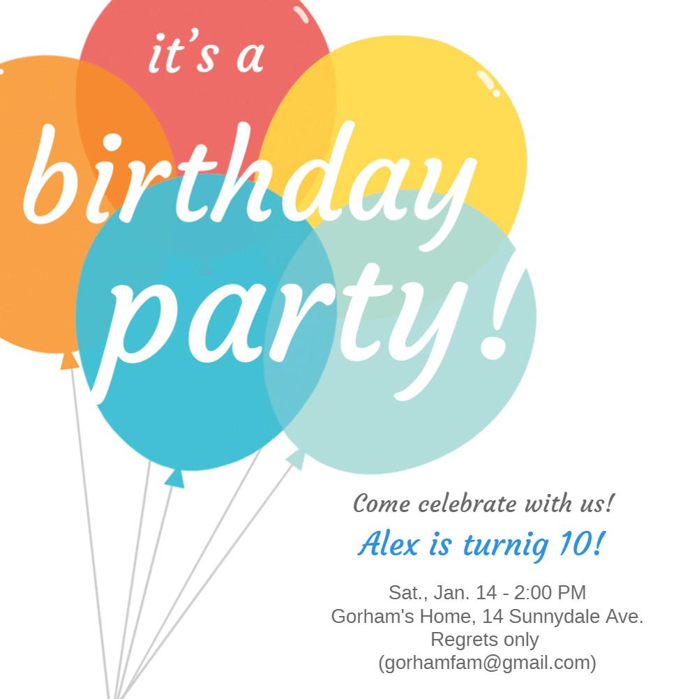 Balloon Birthday Invitations  Balloons Birthday Invitation Template Free