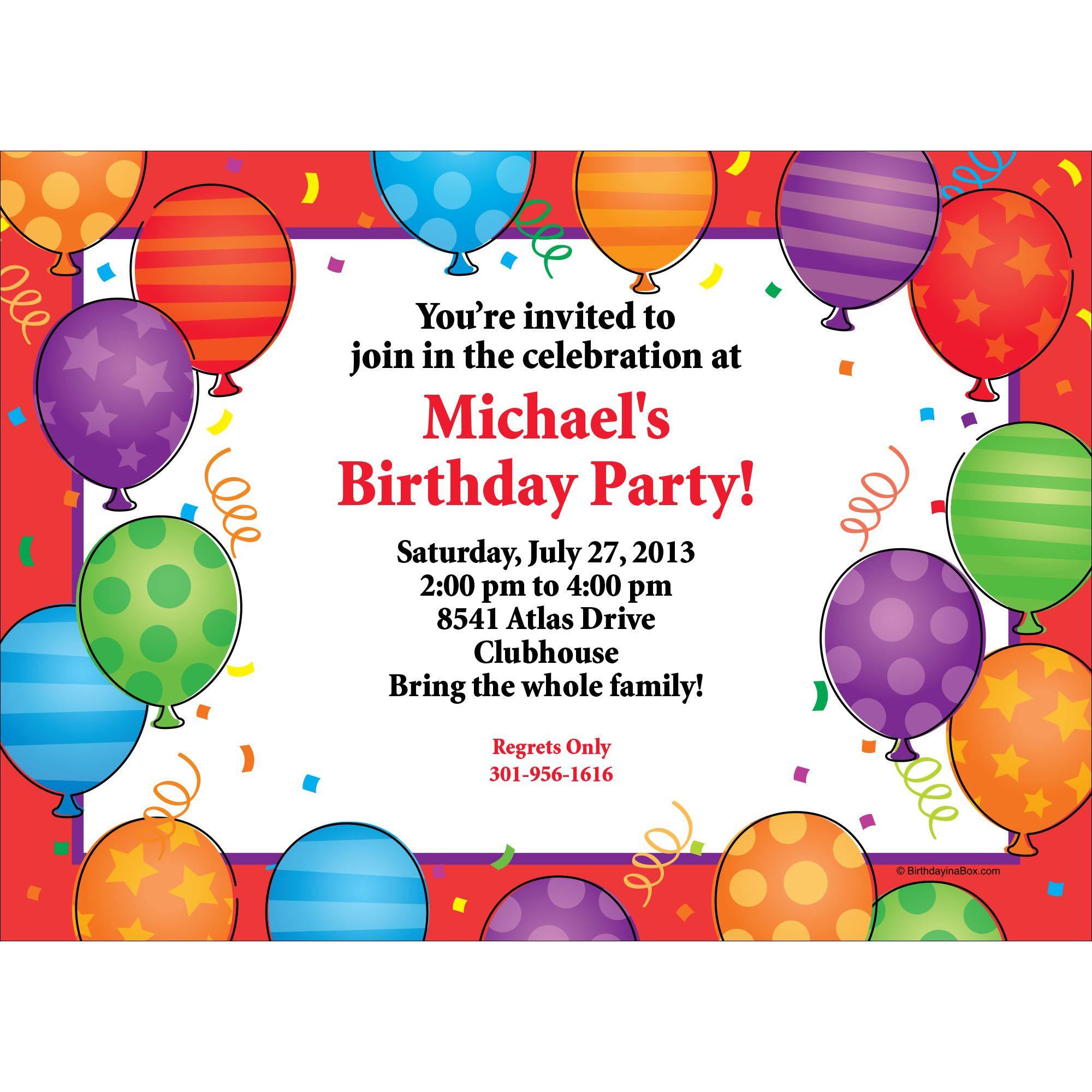Balloon Birthday Invitations  Birthday Balloons Invitation Each Party Supplies