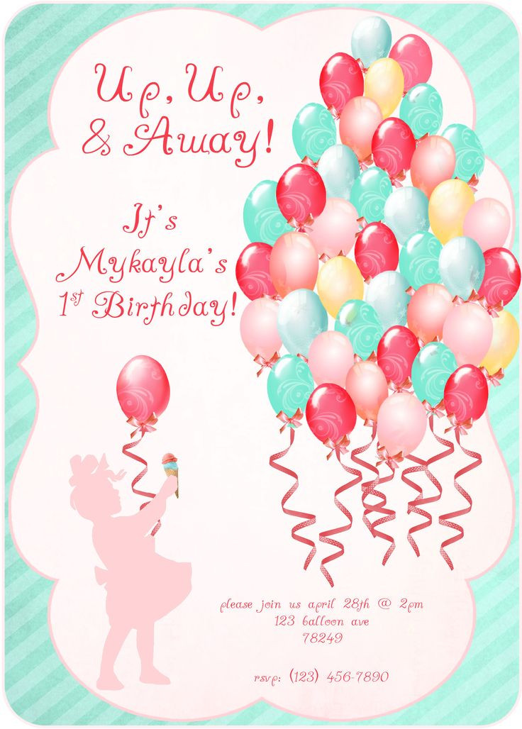Balloon Birthday Invitations  65 best Kids Party RSVP images on Pinterest