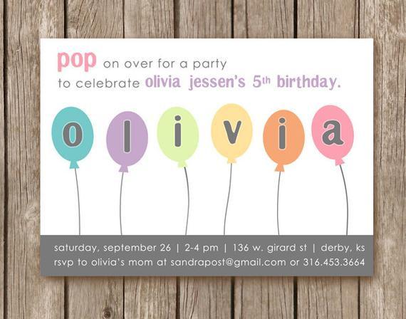 Balloon Birthday Invitations  Items similar to PRINTED Balloon Birthday Party