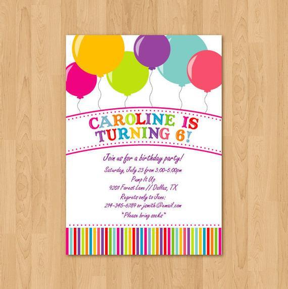Balloon Birthday Invitations  PRINTABLE Bright Balloon birthday party invitation